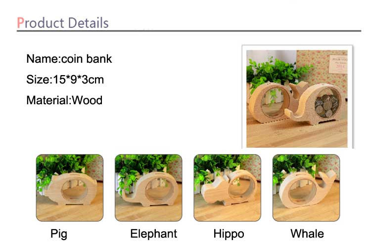 Фото Free shipping BF050 Fashion Transparent wood animal design piggy bank coin box 15*9*3cm