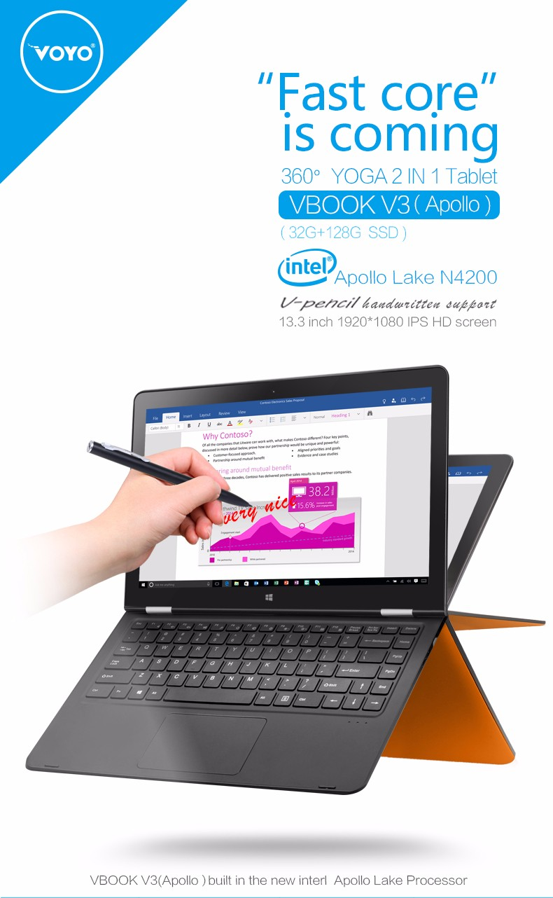 Фото VOYO VBOOK V3 Pentium Apollo N4200 Quad Core1.1-2.5GHz  4GB DDR3L 128GB SSD