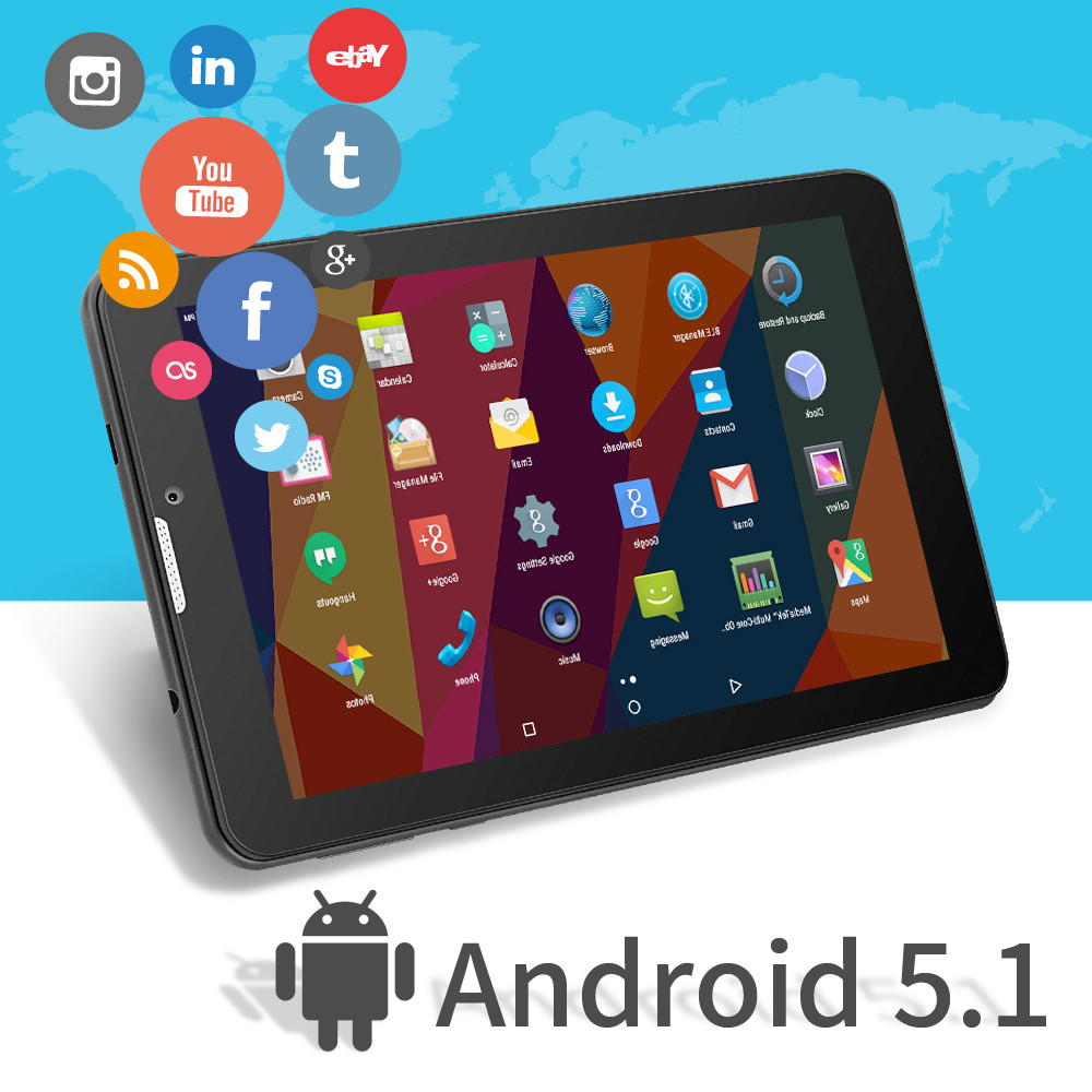 Фото Yuntab 7 inch 3G Smartphone Tablet PC Android 5.1 MTK8321 1.3 GHz Quad Core IPS 1024*600 Google Tablet GPS Bluetooth