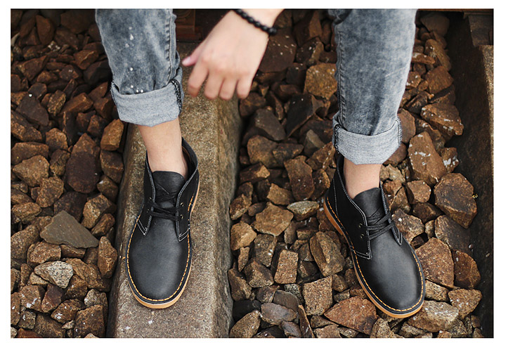 Фото YJP Classic Desert Boots, Black/Brown Leather Chukka китайские дезерты