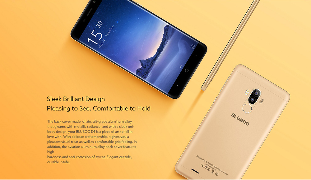 Фото Bluboo D1 3G Smartphone 5.0 inch Android 7.0 MTK6580A Quad Core 1.3GHz 2GB RAM 16GB ROM