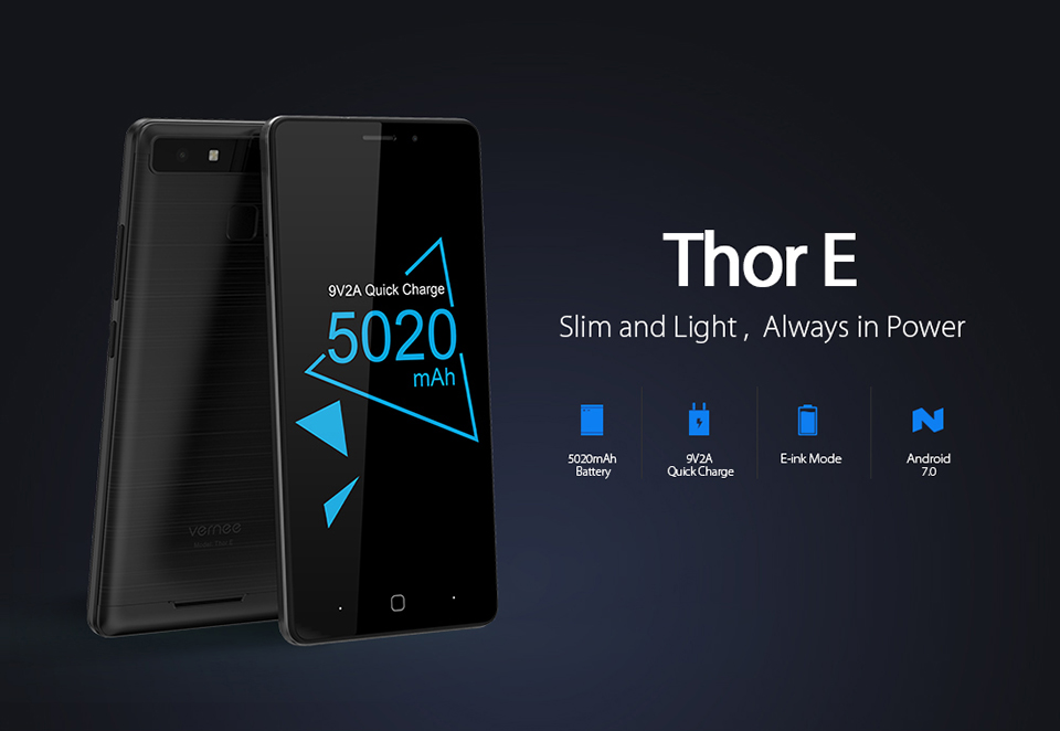 "Фото Vernee Thor E 5"" HD 4G LTE Mobile Phone MTK6753 Octa-Core Android 7.0 Cell Phones 3G RAM 16G ROM 5020 mAh Fingerprint Smartphone"