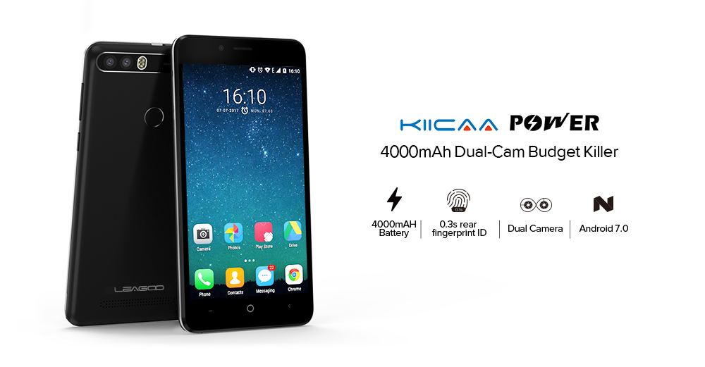 Фото Leagoo KIICAA POWER Smartphone 5.0 INCH Android 7.0 MTK6580 Quad Core 2GB+16GB Fingerprint 8MP 4000mah WCDMA 3G Mobile Phone