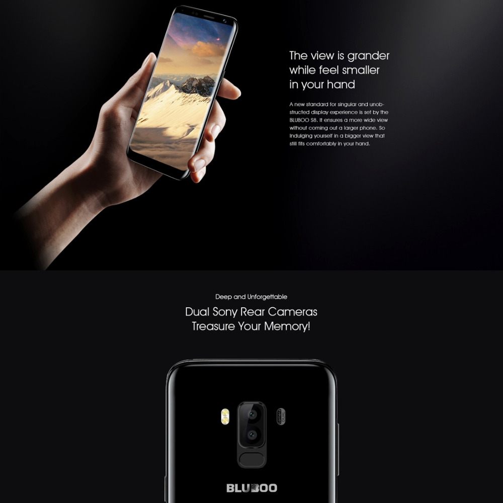 "Фото Original Bluboo S8 Mobile Phone 5.7"" HD Screen RAM 3GB ROM 32GB MTK6750 Octa Core Android 7.0 Dual Cameras 3450mAh Smartphone"