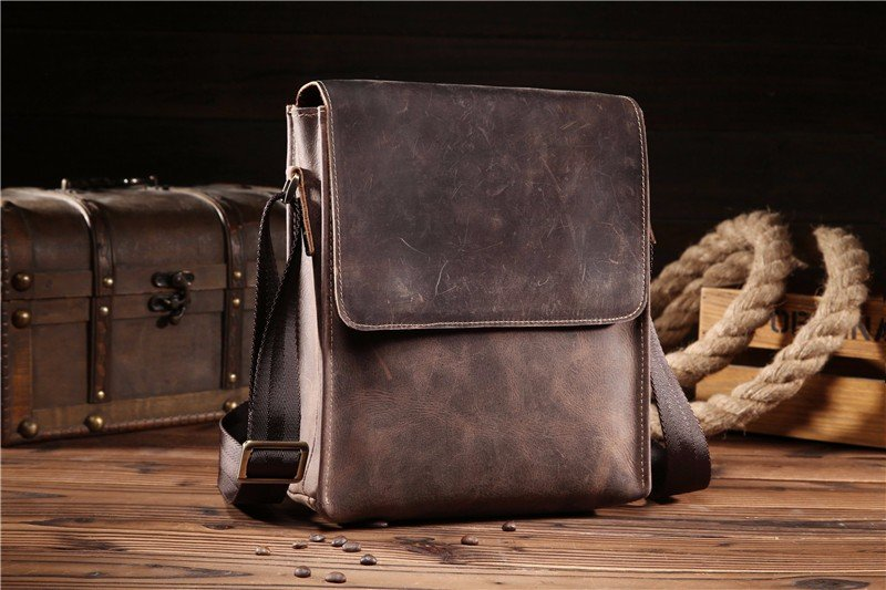 Фото NEWEEKEND Retro Casual Genuine Leather Cowhide Crazy Horse Anti-theft Shoulder Messenger Crossbody iPad Bag for Man Male 8069