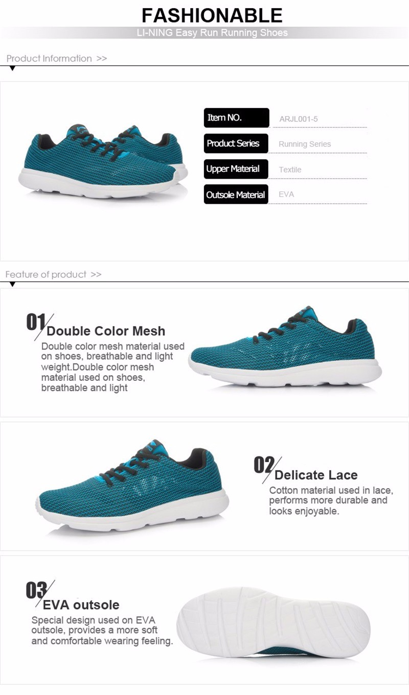 Фото LI-NING Original Men's Running Shoes Breathable Easy Run Sneakers EVA Outsole Footwear Soft Sports Shoes LINING ARJL001