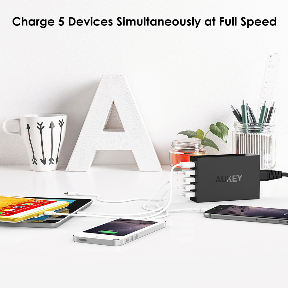 AUKEY Quick Charger 5 Ports USB Desktop Charger Smart Mobile Phone Charger for LG Xiaomi Galaxy S8 Support Qualcomm Quick Charge