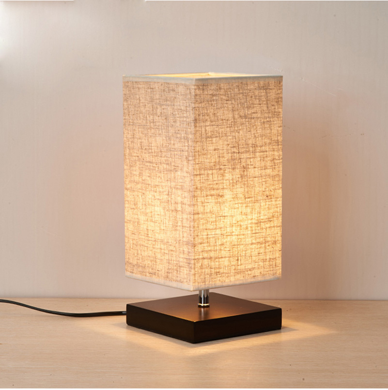 Фото Modern Table Lamp LED Light Linen Cloth Shade Bed Office Desk Light Home Bedroom Living Room Decoration Bedside Lighting