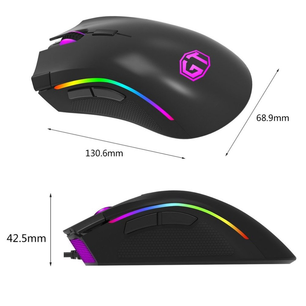 Фото Delux M625 Gaming Mouse USB Wired Mouse 7 Buttons 12000DPI 12000FPS Optical USB Wired Desktop Mice RGB Backlit For game player