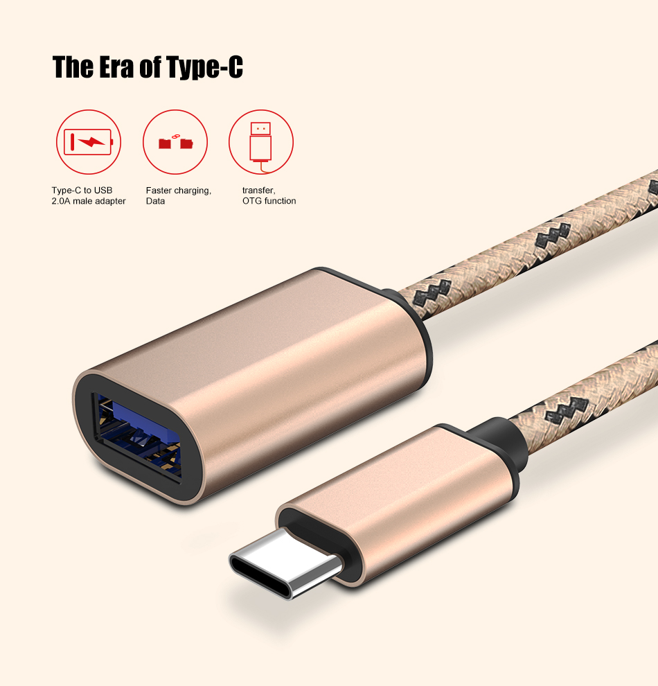 Фото FLOVEME USB Type C OTG Data Adapter Cable For Xiaomi 4S 5 For Huawei Mate 9 P9 USB 2.0 To USB Cable Converter For Huawei Xiaomi