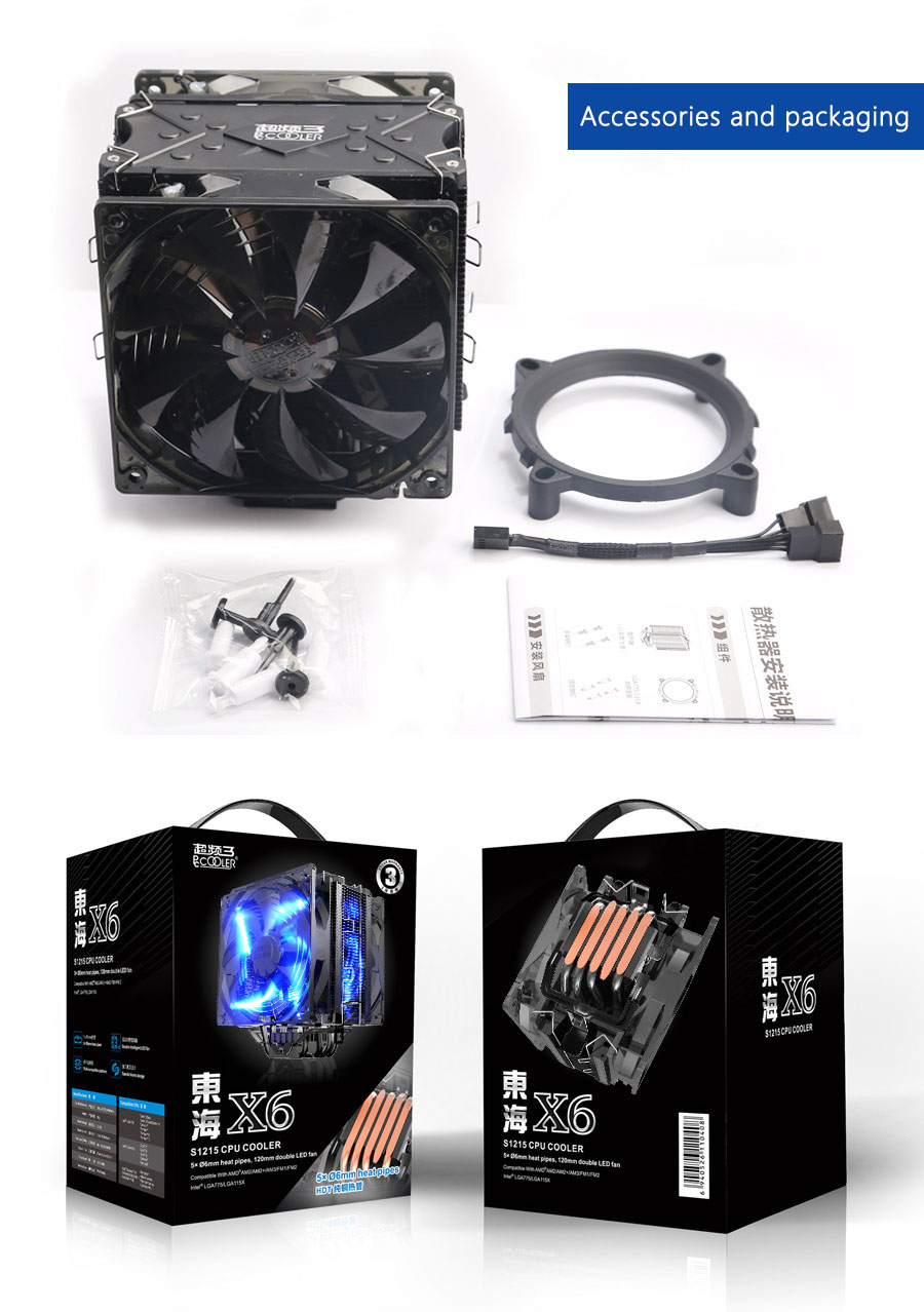Фото Pccooler x6 CPU cooler 5 heatpipes double 4pin led quiet fans for intel 775 115x 2011 AMD am3 FM2 AM4 cpu cooling radiator fan