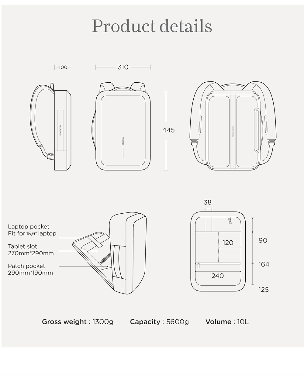Фото The XD design for Bobby Bizz Backpack Briefcase Anti-cut waterproof and Anti-thief backpack and briefcase free conversion