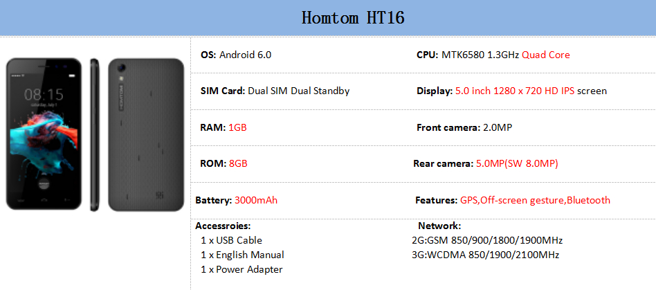 Фото Original Homtom HT16 Android 6.0 Mobile Phone 5.0'' HD MTK6580 Quad Core 1.3GHz 1GB+8GB 3G Smartphone 8MP Camera Cellphone GPS
