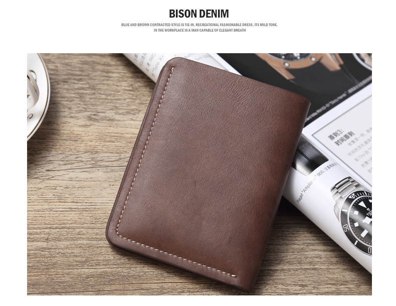 Фото BISON DENIM chocolate vintage 100% Genuine Leather Top Layer Wallet For Men Mini slim small purse for men Clutch N4386-2U