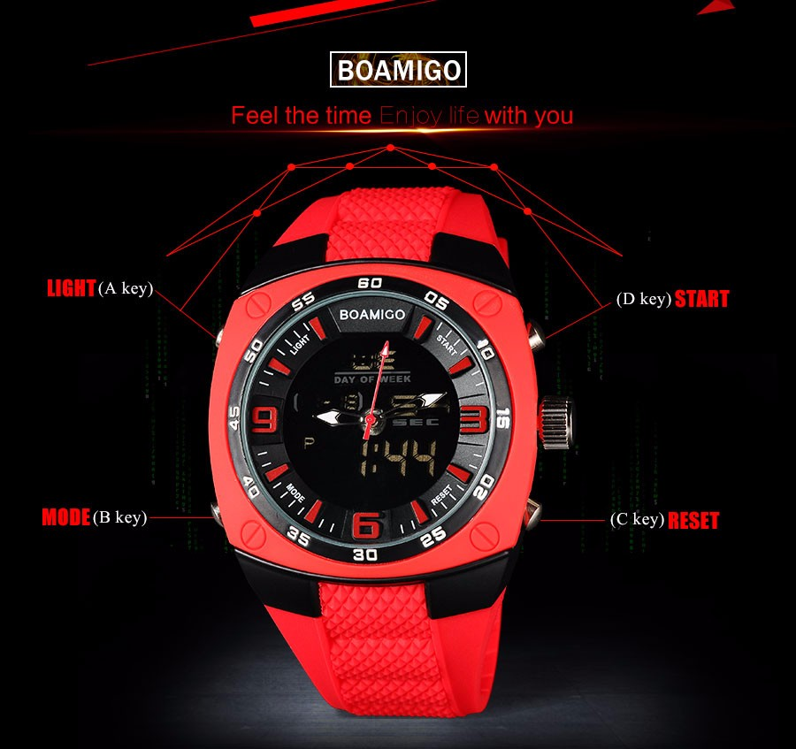 Фото Men Sports Watches BOAMIGO Brand Military Army Green Outdoor Quartz Digital Watch Swim Waterproof Rubber Clock reloj hombre
