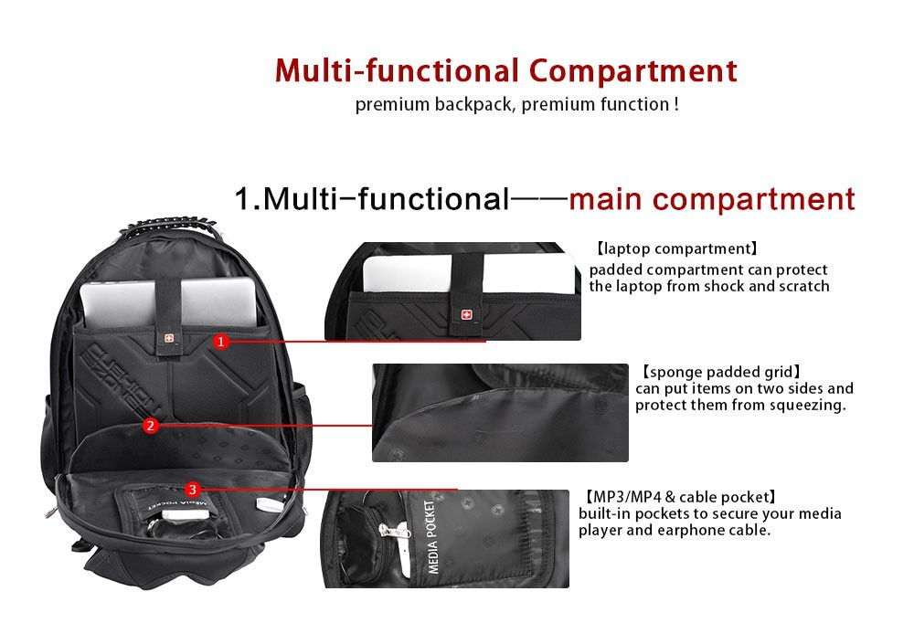 "Фото Laptop backpack sac a dos High quality 15.6"" Laptop bag men's business travel waterproof backpack military bag SW8112"