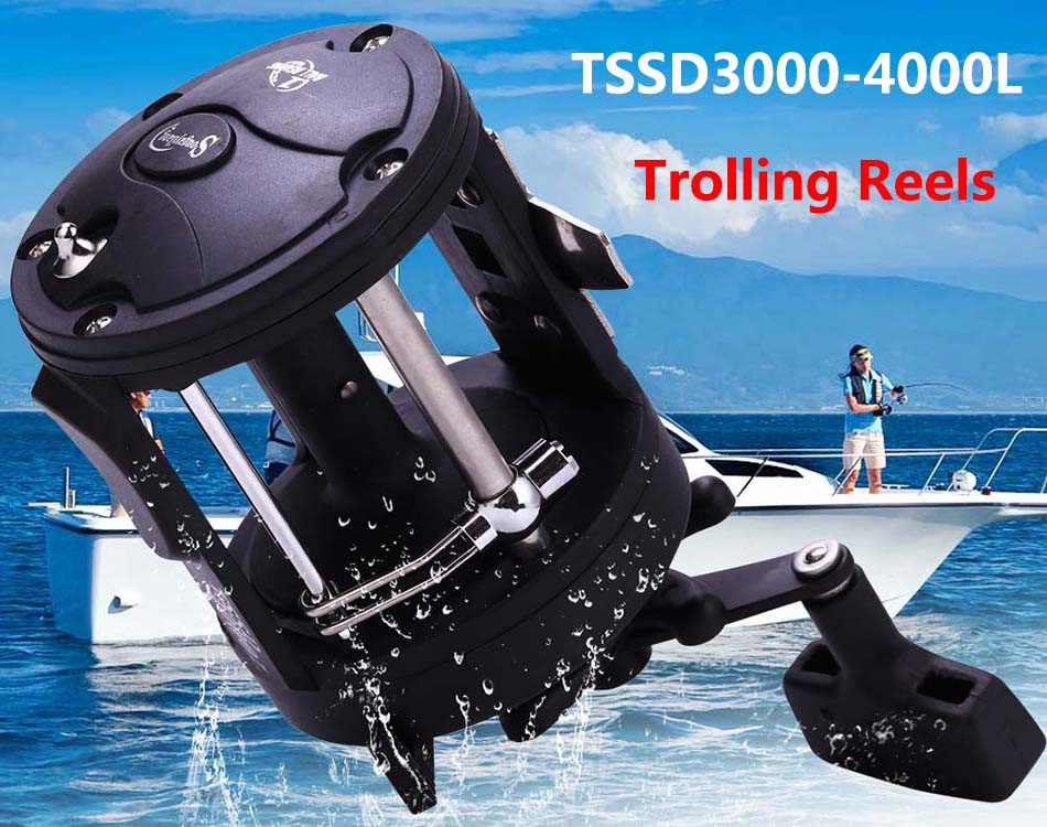 Фото Троллинговая катушка Sougayilang Trolling Reel Fishing TSSD 3000L-4000L Black Right Hand Casting Sea Fishing Reel Saltwater Baitcasting Reel Coil