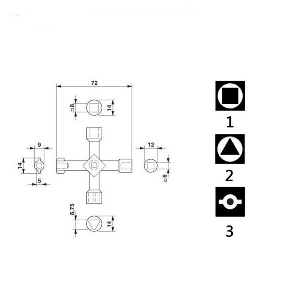 Фото Недорогой универсальный ключ Universal Cross KEY Triangle KEY for Train Electrical Elevator Cabinet Valve Alloy Triangle Square