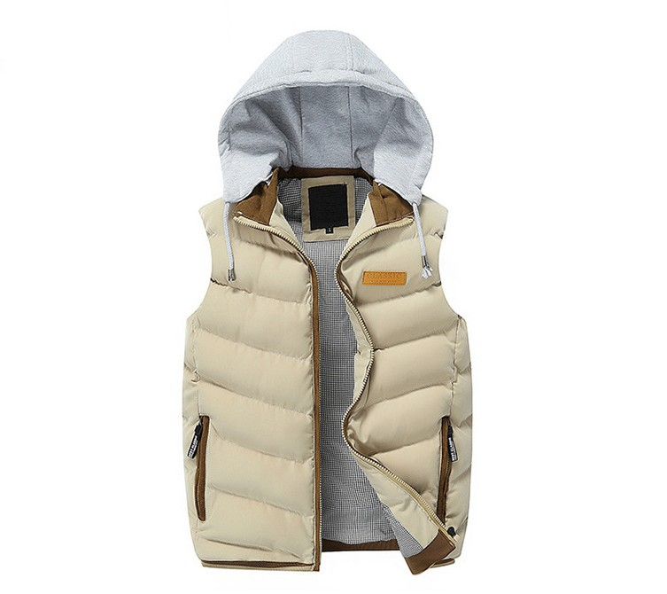 Фото Мужская жилетка Vest Men Winter Fashion Sleeveless Hooded Vest chaleco hombre Male Cotton-Padded Waistcoat Mens Jacket and Coat Warm Vest gilet