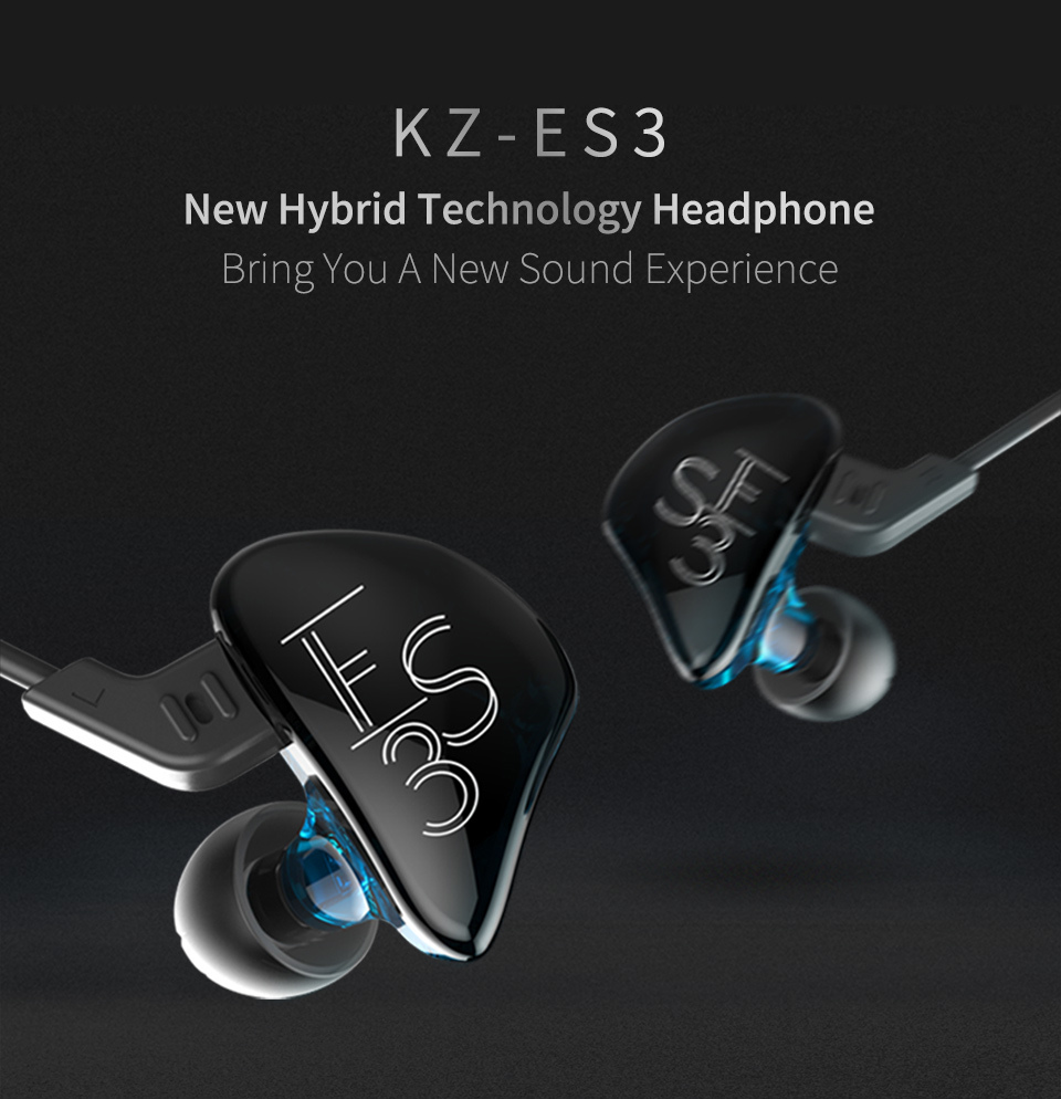 Фото KZ ES3 Hybrid Dynamic And Balanced Armature Earphone In Ear HIFI Stereo Sport Headset Suitable Bluetooth Official Fast Delivery