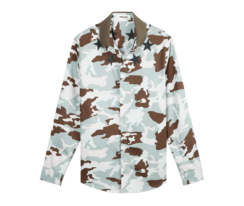 Фото Рубашка VIISHOW Camouflage Shirt Men Brand Clothing Print Slim Fit Men Dress Shirts Long Sleeve Casual Social Shirts Men Homme C115953