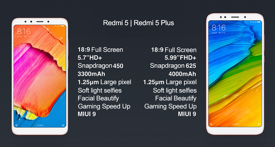 Фото EUR ROM Xiaomi Redmi 5 Plus 5.99'' 4GB 64GB Snapdragon 625 CPU Smartphone FHD+ 18:9 Full Screen 4000mAh MIUI 9.2 Android 7.1