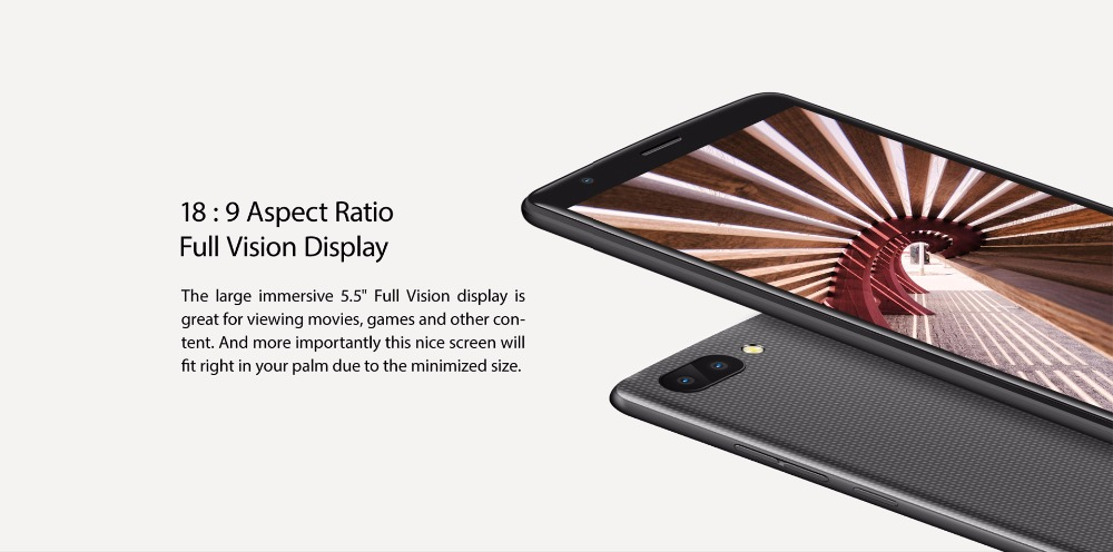 "Фото Blackview A20 5.5"" 18:9 Mobile Phone Android GO MTK6580 Quad Core 1GB RAM 8GB ROM 5MP Dual Rear Camera Dual SIM 3G Smartphone"