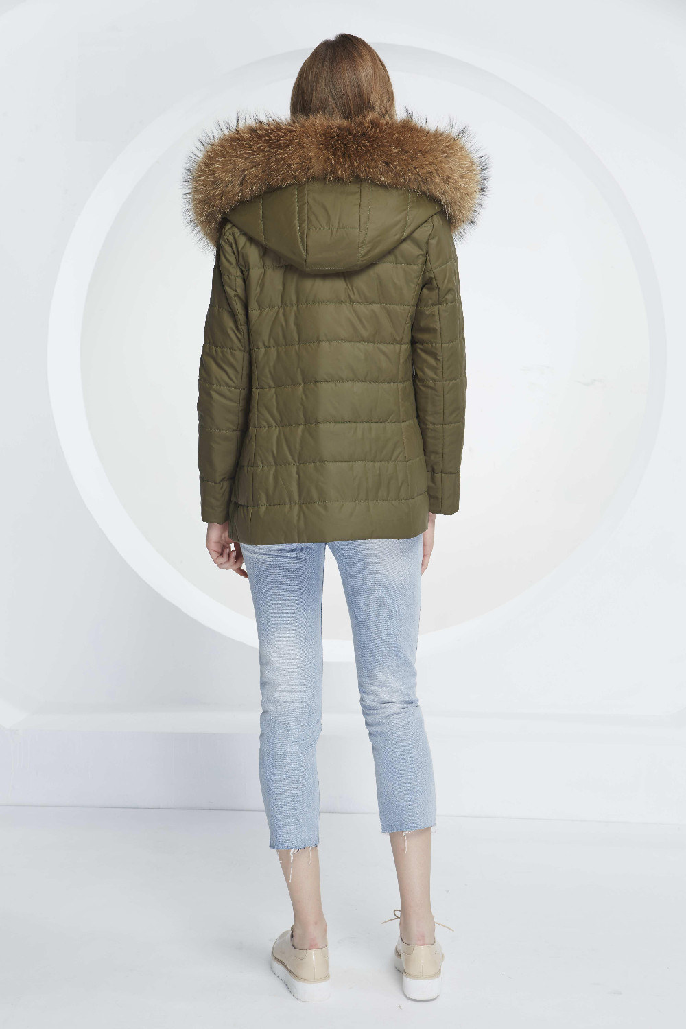Фото Basic Vogue Women Winter Two Pieces Removable Shell Fox Fur Puffy Casual Slim Fit Cotton Parka Jackets with Fur - M16108