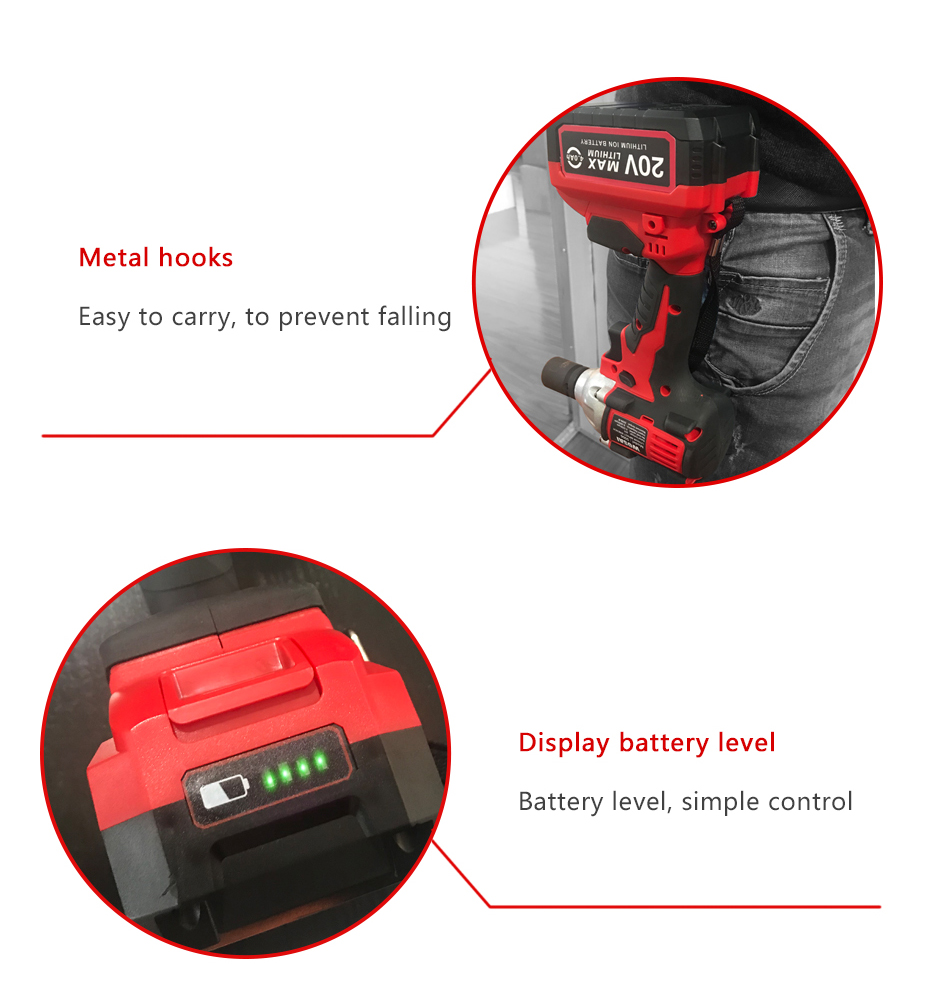 Фото Гайковерт WOSAI 20V Lithium Battery Brushless Impact Electric Wrench Max Torque 320N.m 4.0AH Cordless Socket Wrench Power Tools