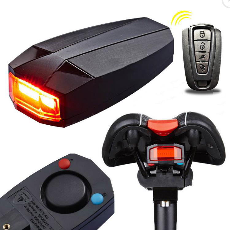 Фото Охранная сигнализация EYCI 4 In 1 Anti-theft Bike Security Alarm A6 Wireless Remote Control Alerter Taillights Lock Warner lamp Bicycle Accessories