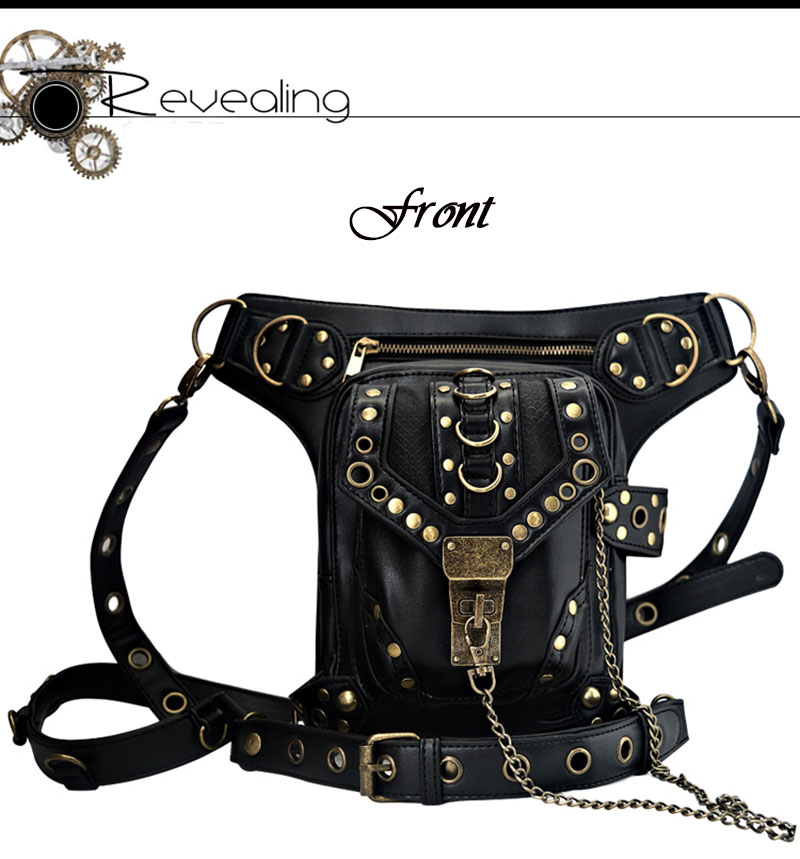 Фото Набедренная сумка, в стиле стимпанк. Black Rivet PU Leather Vintage Steampunk Waist Bag For Women/ Men Punk Rock Crossbody Bags Match Gothic Corsets Accessories