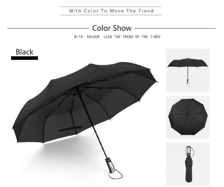 Фото Wind Resistant Folding Automatic Umbrella Rain Women Auto Luxury Big Windproof Umbrellas Rain For Men Black Coating 10K Parasol