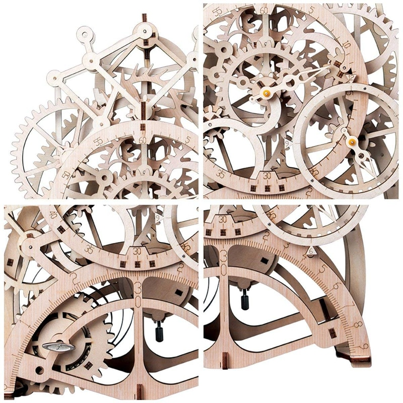 "Фото Деревянный конструктор ""Часы с маятником"" 170 деталей Robotime DIY Gear Drive Pendulum Clock by Clockwork  3D Wooden Model Building Kits Toys Hobbies Gift for Children Adult LK501"