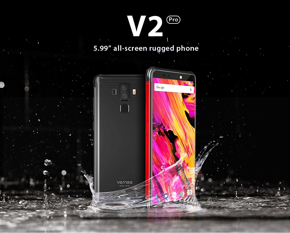 "Фото Vernee V2 Pro IP68 Waterproof Smartphone 5.99"" FHD Face ID 6GB 64GB 21MP Four Cam NFC 6200mAh Android 8.1 4G Rugged Mobile Phone"