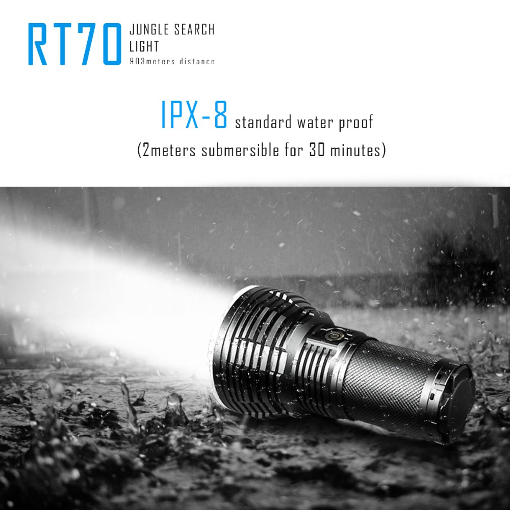 Фото SUNSAVER IMALENT RT70 CREE XHP70 Intelligent Rechargeable Flashlight Torch Jungle Search Light 5500 Lumens 903 Meters Distance