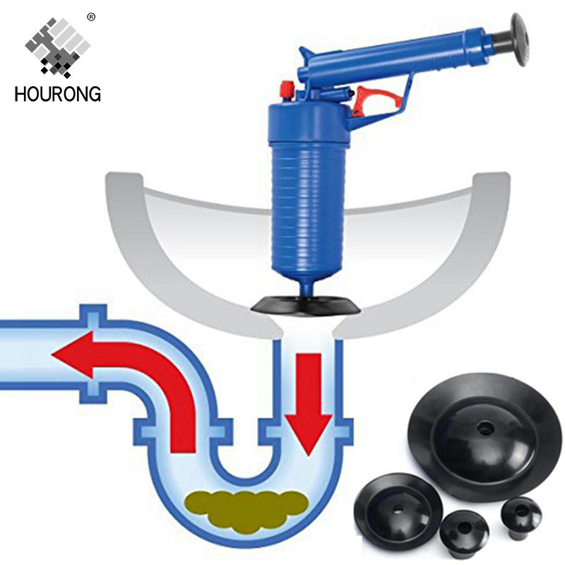 Фото Поршень для удаления засоров HOURONG High Pressure Air Drain Blaster Pump Plunger Sink Pipe Clog Remover Toilets Sewer Filter Bathroom Kitchen Cleaner Kit