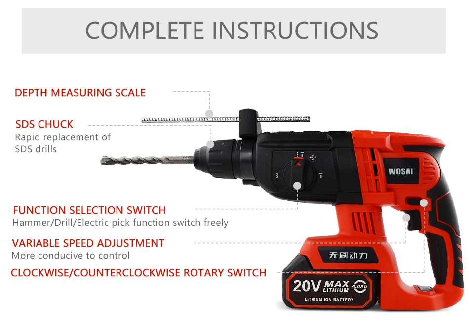 Фото WOSAI 20V Electric Impact Drill Rotary Hammer Brushless Motor Cordless Hammer Electric Drill Electric Pick for Switch Freely