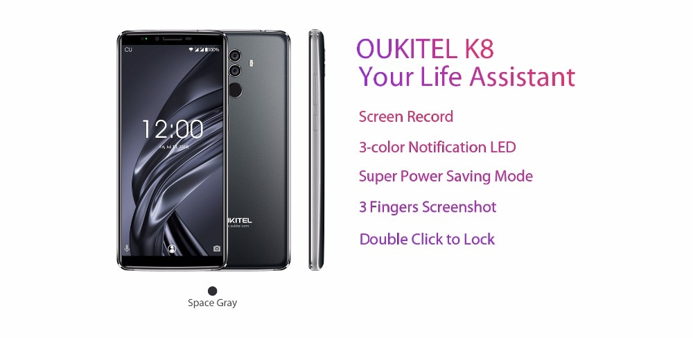 Фото OUKITEL K8 4G 64G Android8.0 Mobilephone Octa-core 5000mAh 6'' 18:9 Display Dual Rear Camera Face ID Fingerprint Smart Cellphone