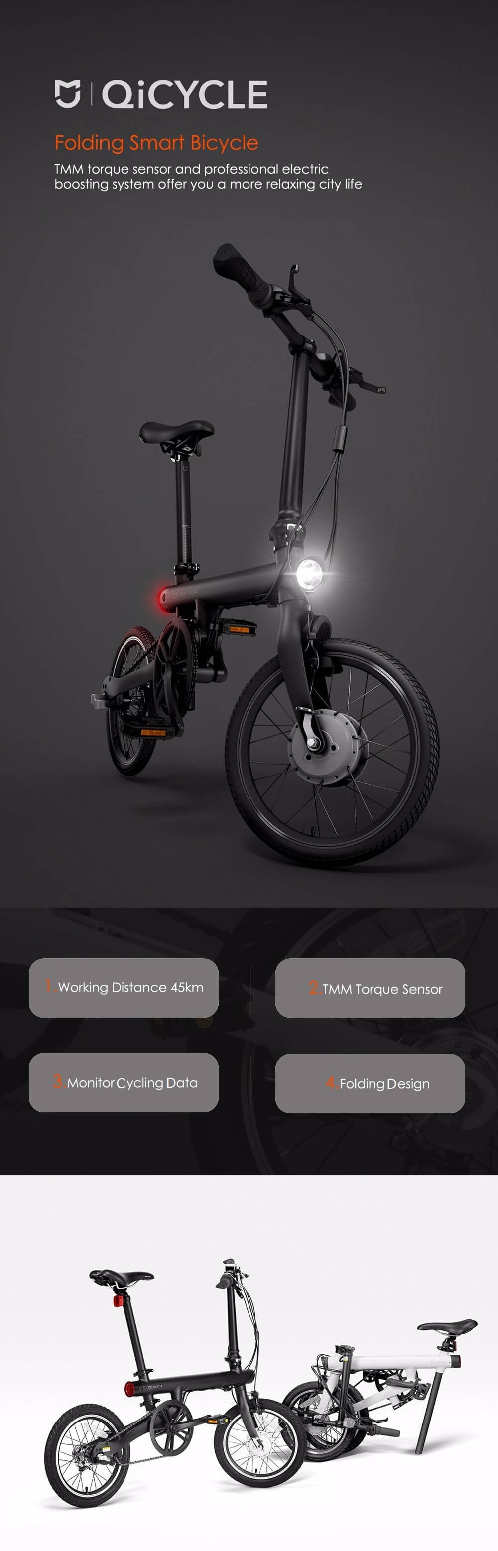 Фото Original Xiaomi QiCYCLE - EF1 Folding Electric Bike Bluetooth Smart Electric Bicycle 16inch Bicycle Support APP 100% WITHOUT TAX