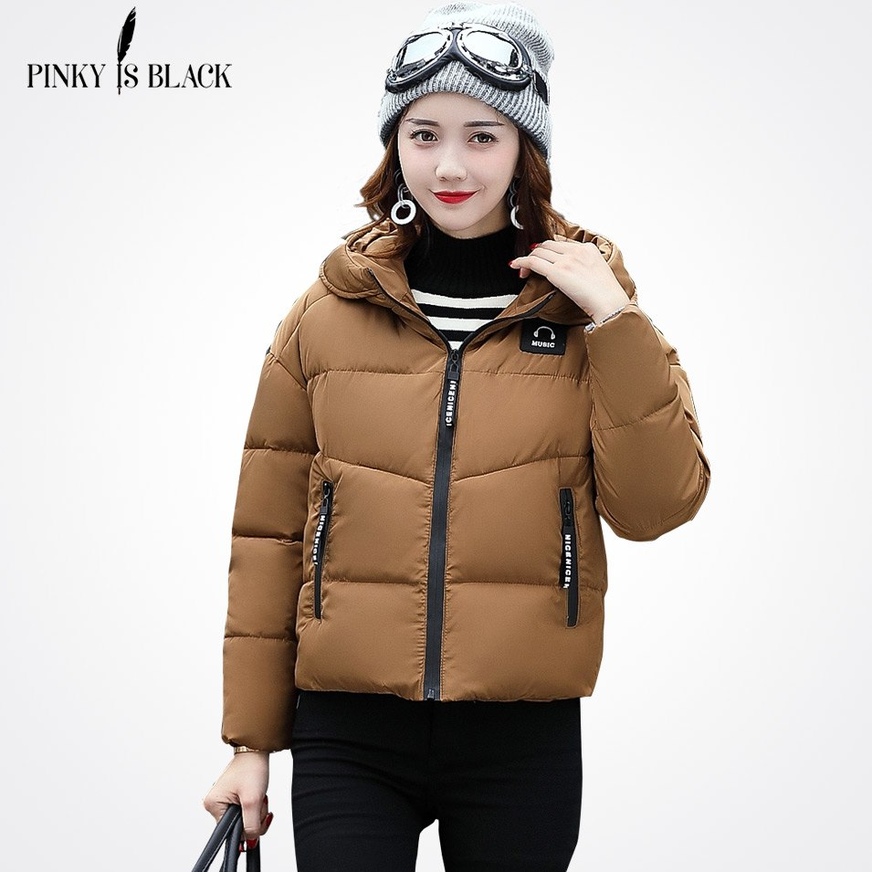 Фото Pinky Is Black Winter Jacket Women Cotton Short Jacket 2018 New Padded Slim Hooded Warm Parkas Coat Female Autumn Outerwear
