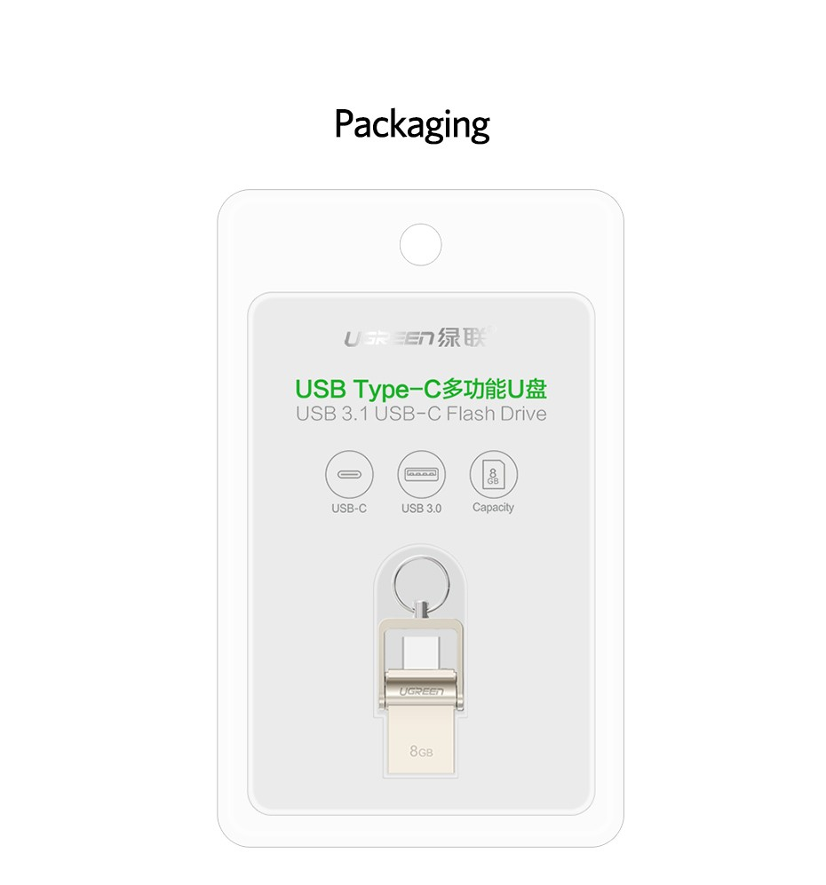 Фото Ugreen USB Flash Drive 3.0 USB C OTG Pendrive 64 32GB For Samsung Galaxy S9 Plus Note 9 For Xiaomi Redmi5 Memory Stick Pen Drive