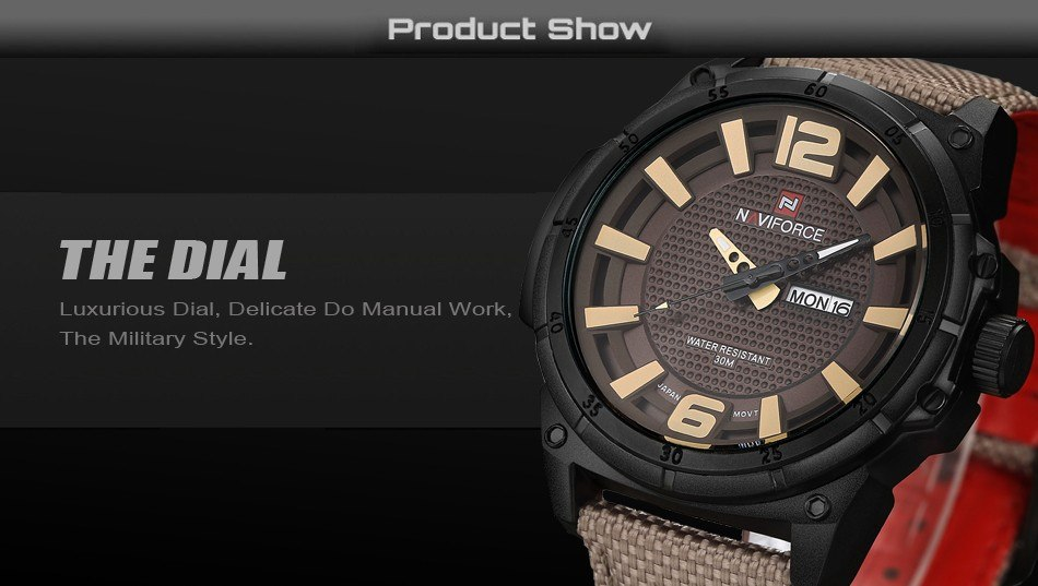 Фото Стильные часы NAVIFORCE Top Brand Military Watches Men Fashion Casual Canvas Leather Sport Quartz Wristwatches Male Clock Relogio Masculino