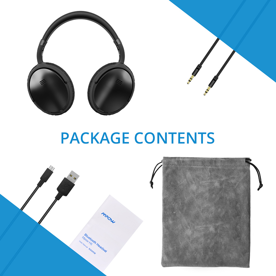 Фото Original Mpow H5 Wireless Bluetooth Headphones With Mic Active Noise Cancelling Headphone With Carrying Bag For PC TV Smartphone