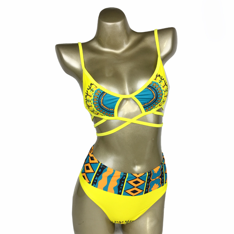 Фото Купальник в Африканском стиле HELLO BEACH 2018 New One Piece Swimsuit Bandage bodysuit African Printed Swimwear Female High Cut Monokini Sexy High Neck