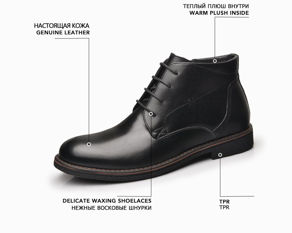 Фото OSCO Genuine Leather Men Boots Autumn Winter Ankle Boots Fashion Footwear Lace Up Shoes Men Business Casual High Top Men Shoes