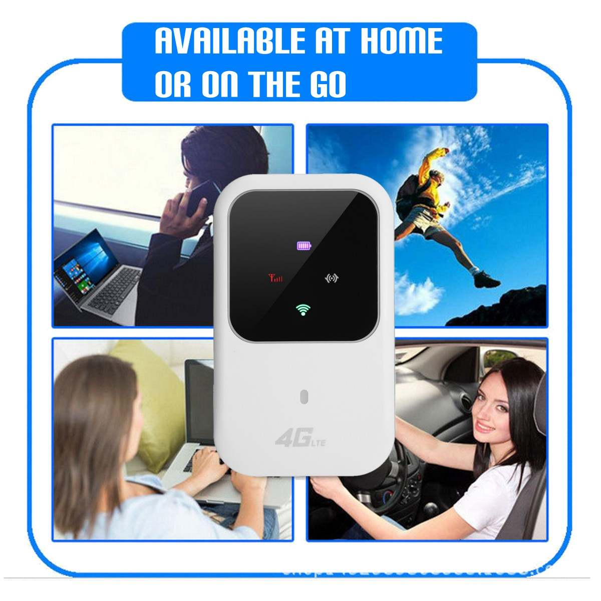 Фото 4G LTE Mobile WiFi Wireless Router Hotspot LED Lights Supports 10 Users Portable Router Modem for Car Home Mobile Travel Camping