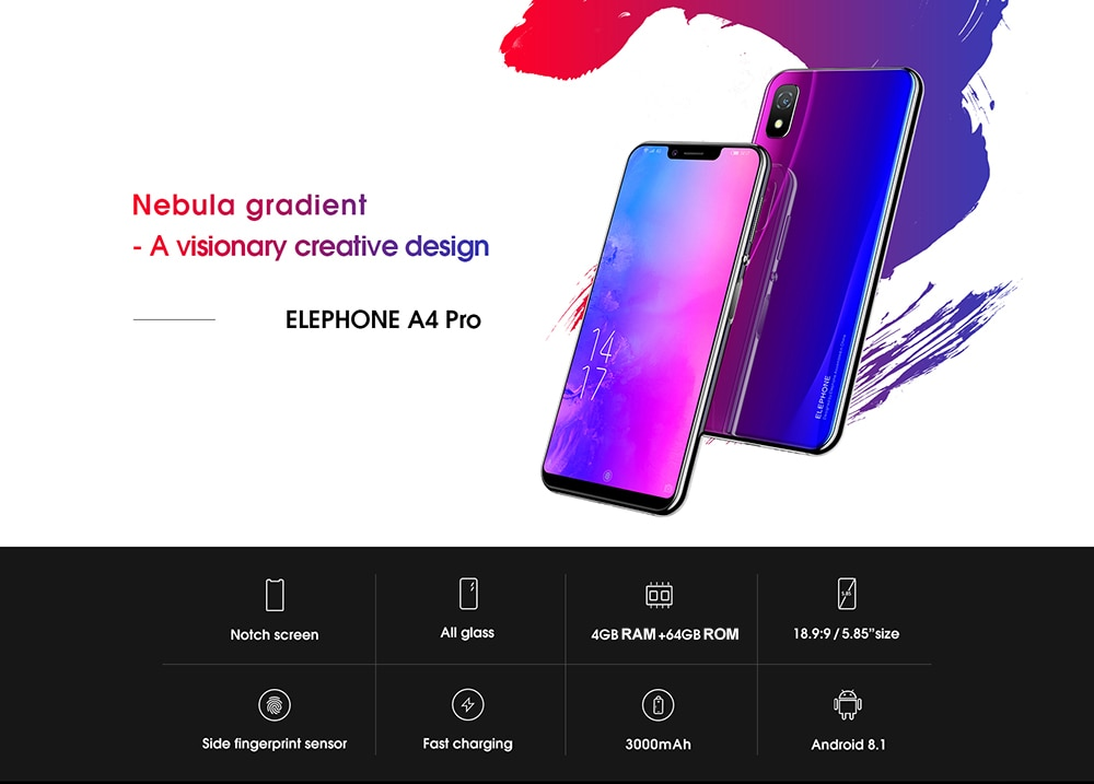 Фото Elephone A4 Pro 5.85 inch 4G Phablet Android 8.1smartphone MT6763 Octa Core 2.0GHz 4GB RAM 64GB ROM 16.0MP Rear Camera cellphone