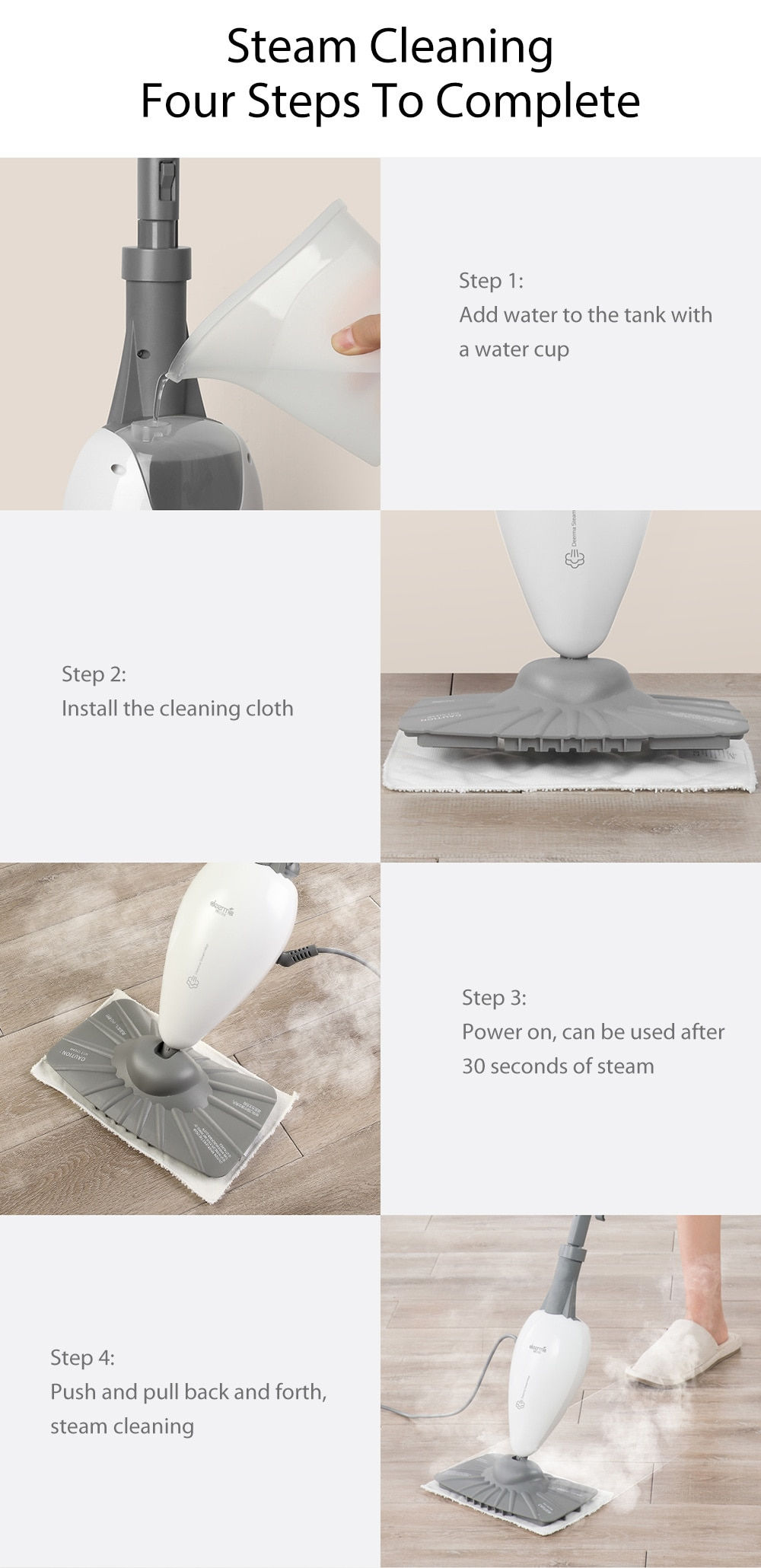 Фото Паровая швабра Original Xiaomi Mijia Deerma High Temperature Steam Sterilization Mop Dust Collector