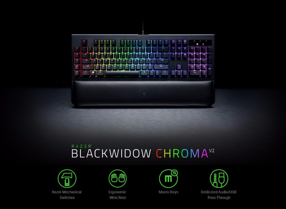Фото Клавиатуры Razer Wired Mechanical Keyboard RGB Backlit BlackWidow Chroma V2 Ergonomic Wrist Rest Tactile Green Switches Gaming Keyboard
