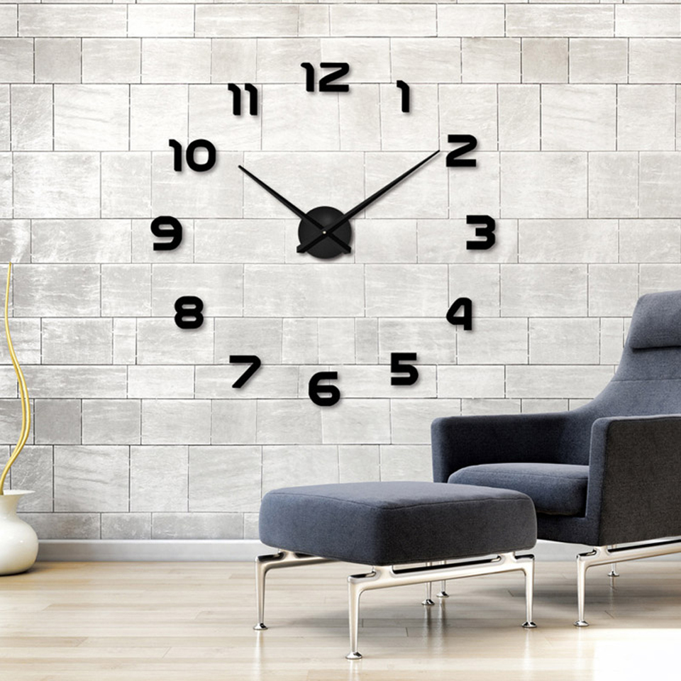 Фото 2019  Free Shipping New Clock Watch Wall Clocks Horloge 3d Diy Acrylic Mirror Stickers Home Decoration Living Room Quartz Needle